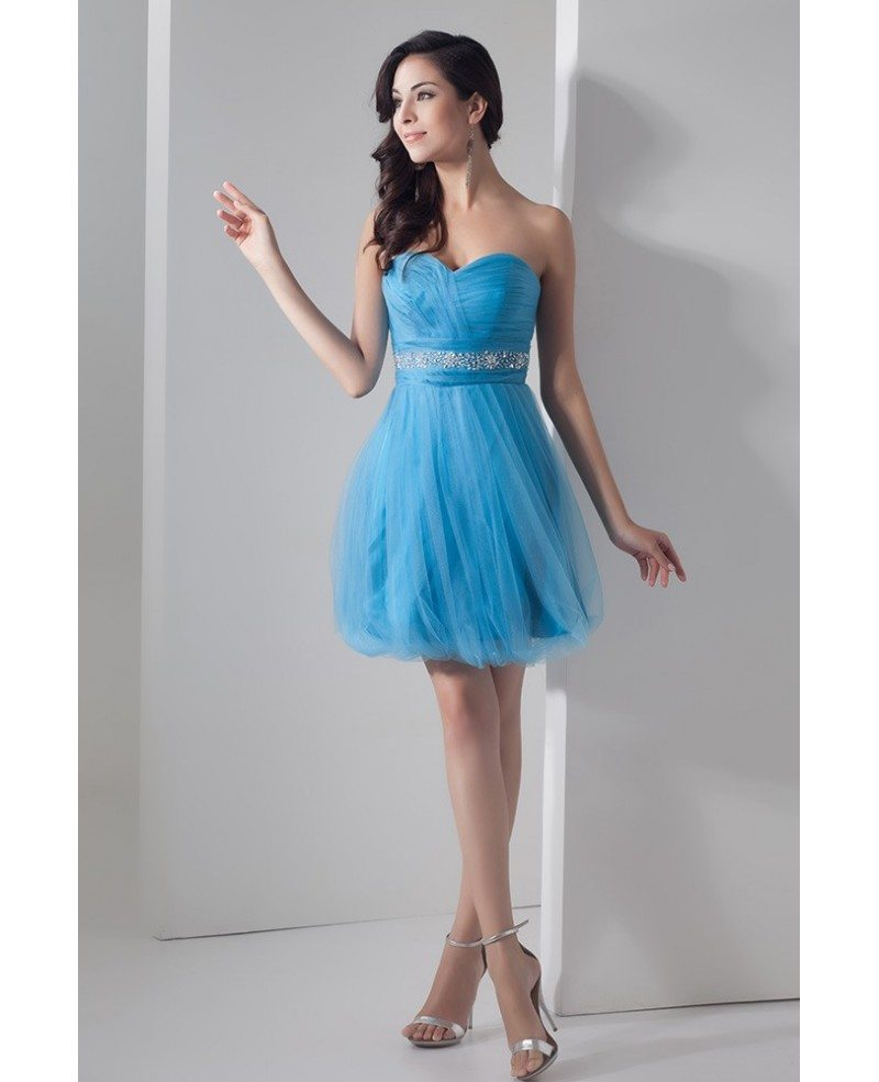 Cute Blue A-line Sweetheart Short Tulle Prom Dress With Beading ...