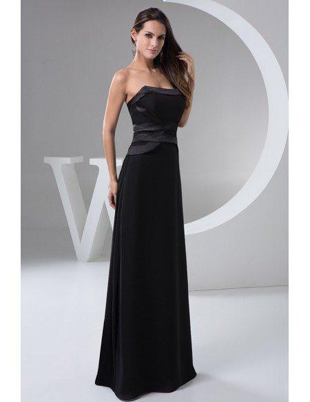 Black A-line Strapless Floor-length Satin Evening Dress #OP4929 ...