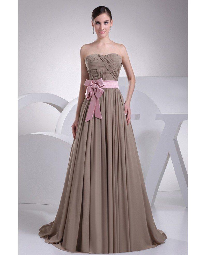 Brown And Pink Sash Long Chiffon Wedding Dress Custom