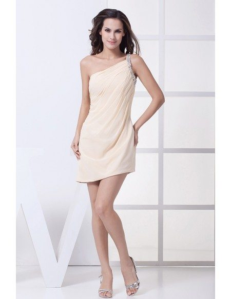 Simple Beaded One Strap Champagne Short Formal Dress #OP4389 $96 ...