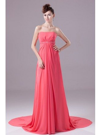 Watermelon Strapless Long Chiffon Maternity Formal Dress Custom
