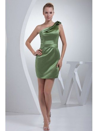 Sage Green Classic Pleated One Shoulder Mini Short Bridesmaid Dress