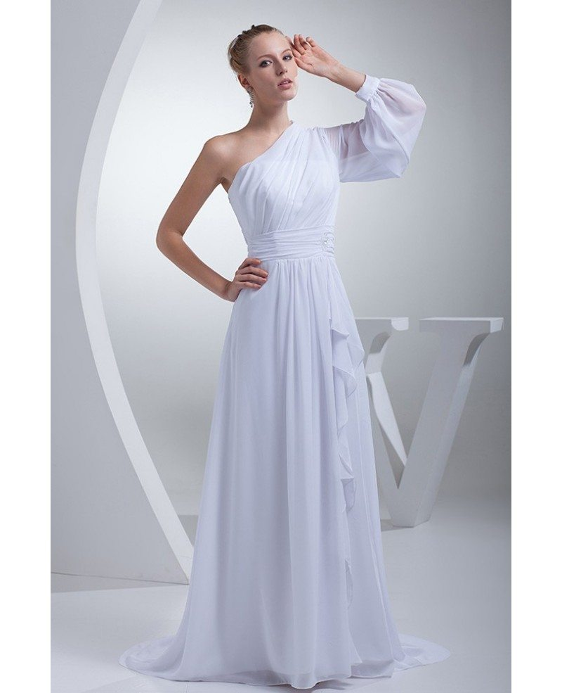 Grecian one sleeve white chiffon long beach wedding dress for Grecian chiffon wedding dress