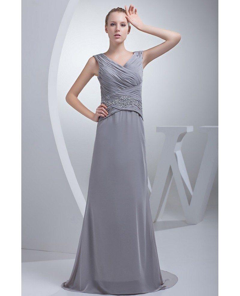 Bridesmaid Silvers: Silver Cross Pleated Long Chiffon Bridesmaid Dress #OP4481