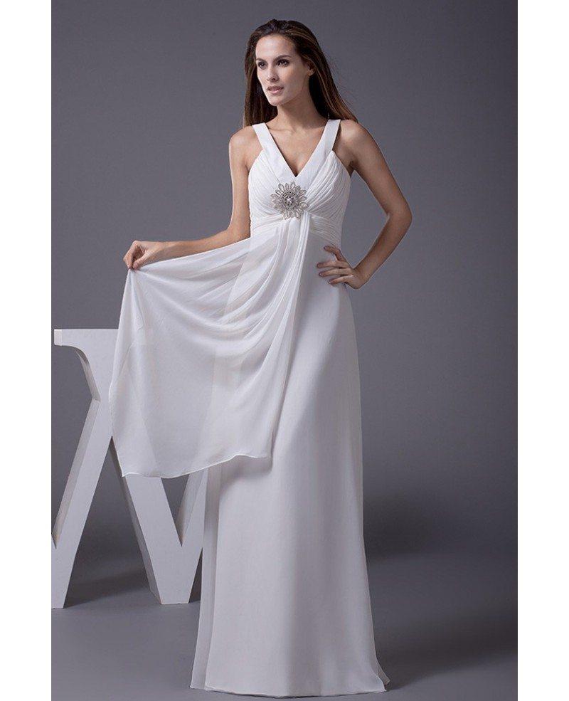 V Neck Beaded Wedding Gowns: V-neck Beaded Long Chiffon A-line Beach Wedding Dress