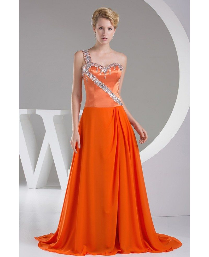 beaded one shoulder orange long train prom dress op4508
