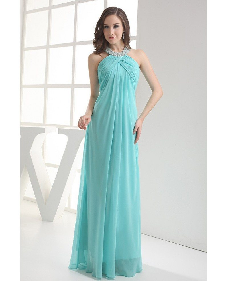 Sequined Long Halter Pool Blue Chiffon Bridal Party Dress ...