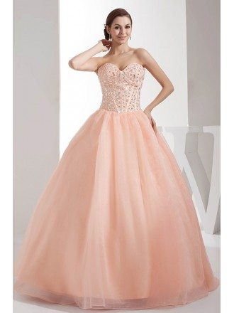 Beaded Sweetheart Candy Pink Ballgown Tulle Prom Dress