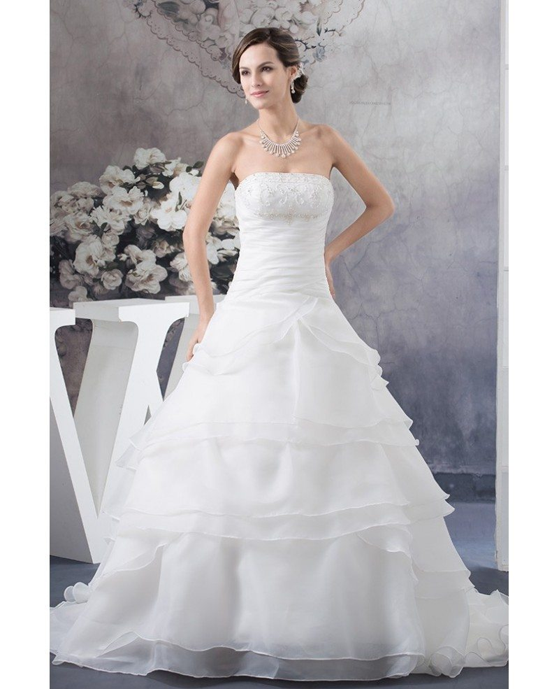 Strapless Ball Gown Beaded Tiered Organza Wedding Dress