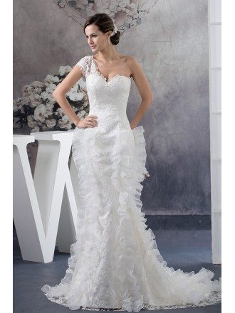 Unique One Sleeve Lace Fitted Mermaid Wedding Dress