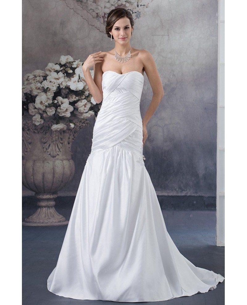 Satin Mermaid Wedding Gown: White Satin Cross Pleated Long Mermaid Wedding Dress