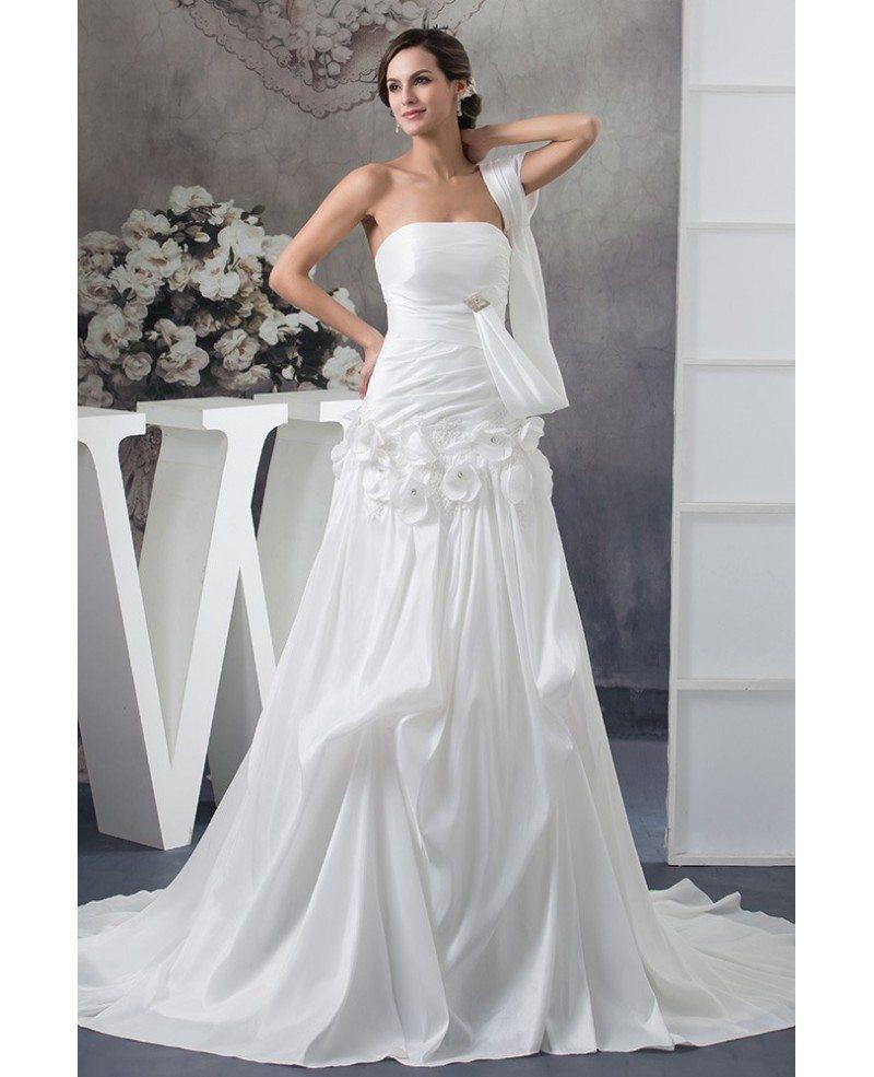 Special White Satin One Sleeve Grecian Long Train Wedding