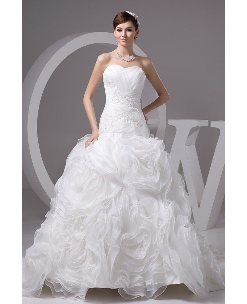 Wedding Gowns With Ruffles: Charming White Organza Beaded Cascading Ruffles Wedding