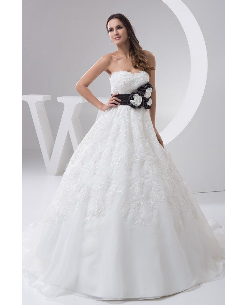Strapless Beaded Lace Ballgown Wedding Dress With Color