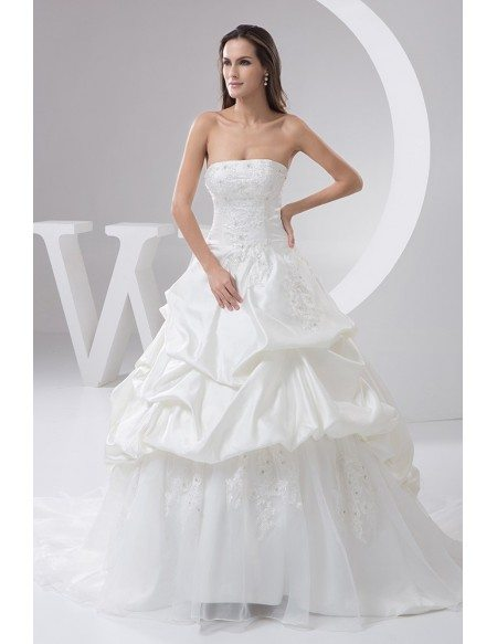 Elegant Strapless Satin Lace Tulle Ruffled Wedding Gown Custom with ...