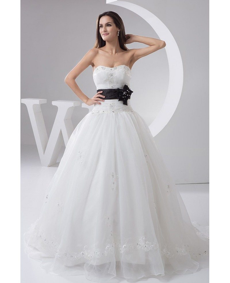 White with black sash long tulle wedding dress with embroidered white with black sash long tulle wedding dress embroidered ombrellifo Images
