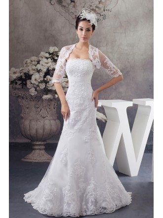 Perfect Fitted Lace Half Sleeve Jacket Mermaid Wedding Dress