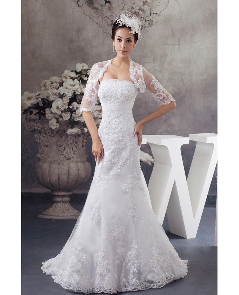 Perfect fitted lace beaded half sleeve mermaid wedding for Wedding dresses with half sleeves