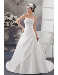 Strapless Lace Pleated Beaded Satin Wedding Dress with Corset Back ...