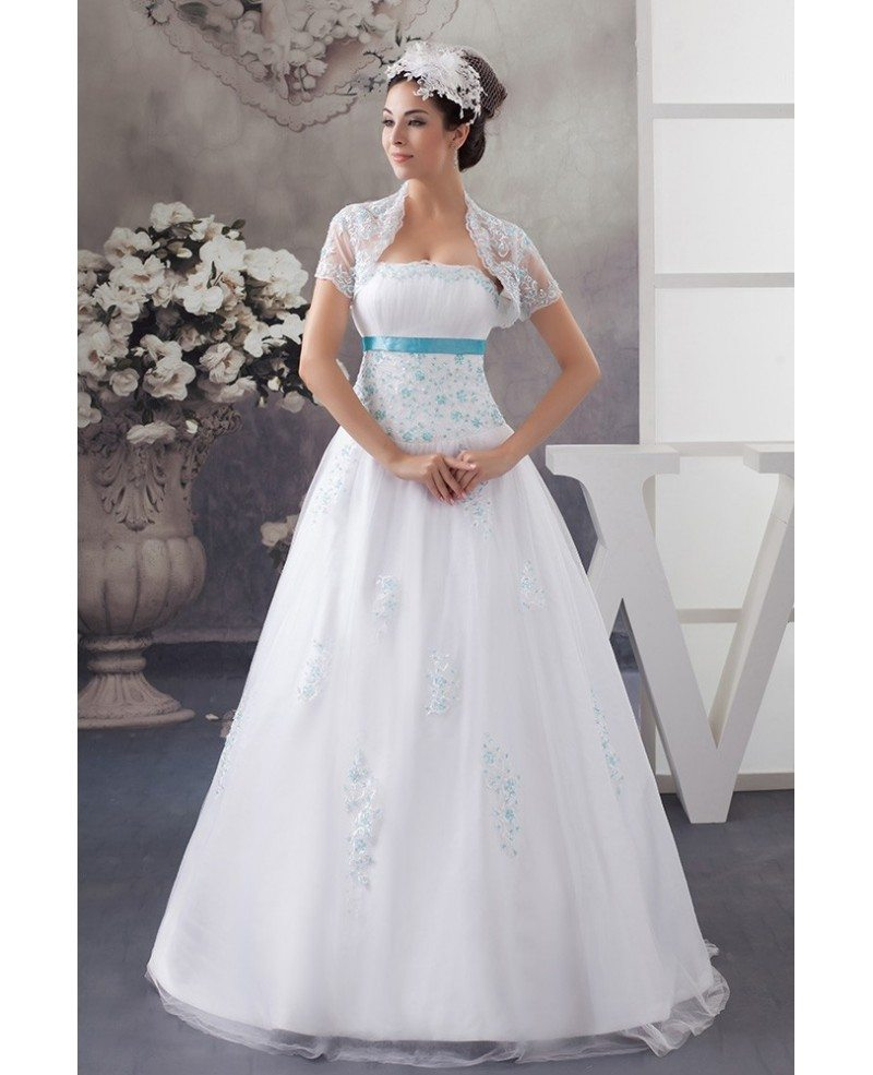 Wedding Dress White And Blue: White And Blue Colored Sequined Lace Tulle Wedding Dress