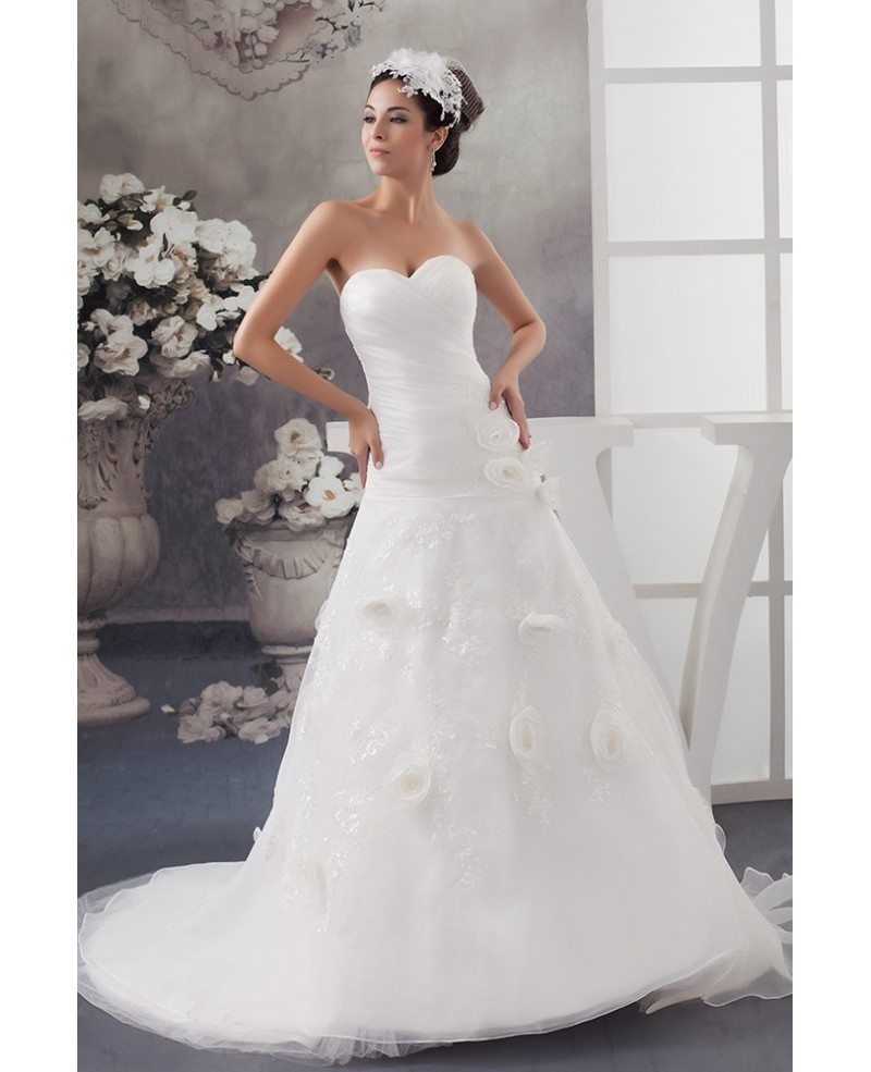 Aline Wedding Gown: White Sweetheart Organza Lace Pleated Aline Wedding Gown