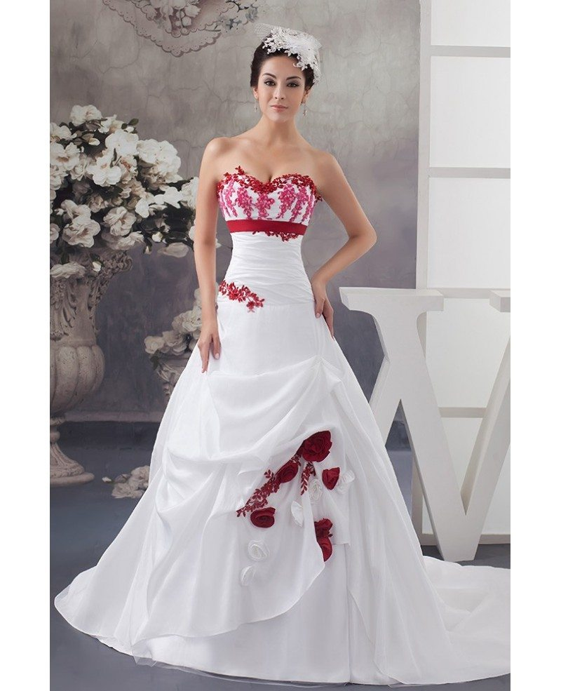 Wedding Gowns With Flowers: White And Red Flowers Taffeta Lace Color Wedding Dress