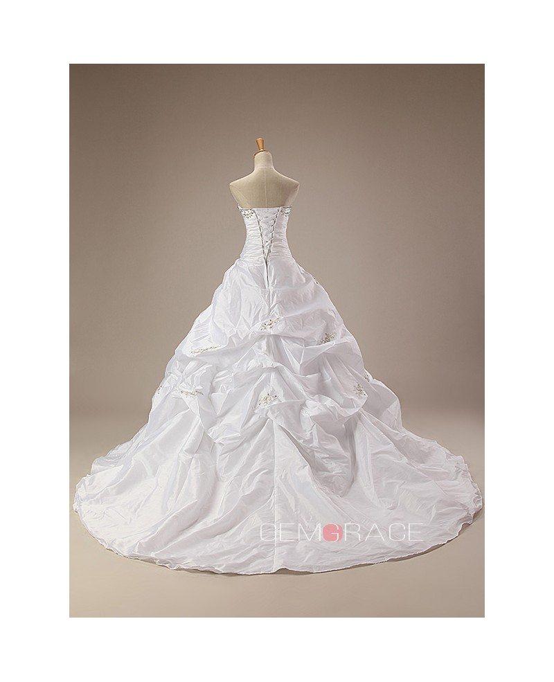 Strapless Beaded Top Ruffled Train Length Wedding Dress #CH0055 $296 ...