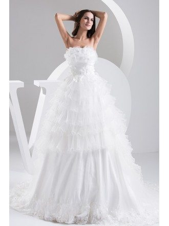 Strapless Tiered Organza Wedding Dress Custom