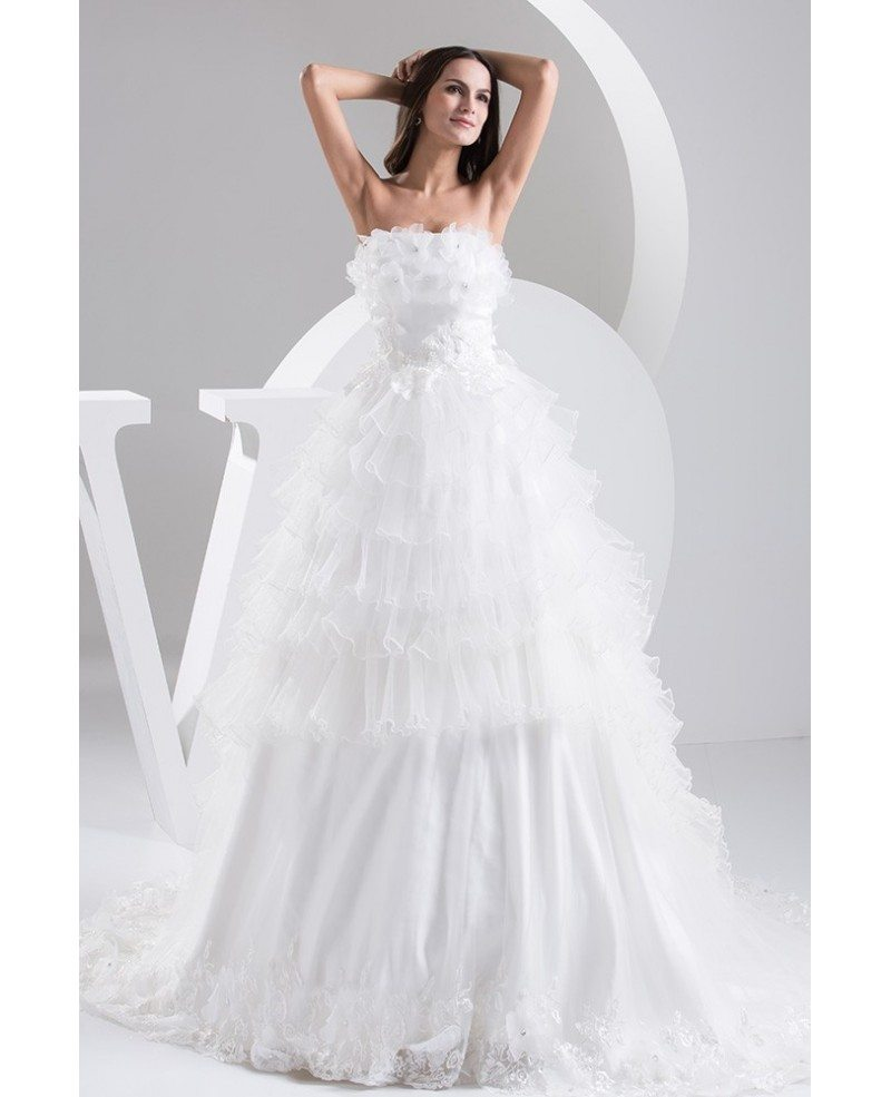 Tiered Wedding Gown: Strapless Tiered Organza Floral Ball Gown Bridal Dress