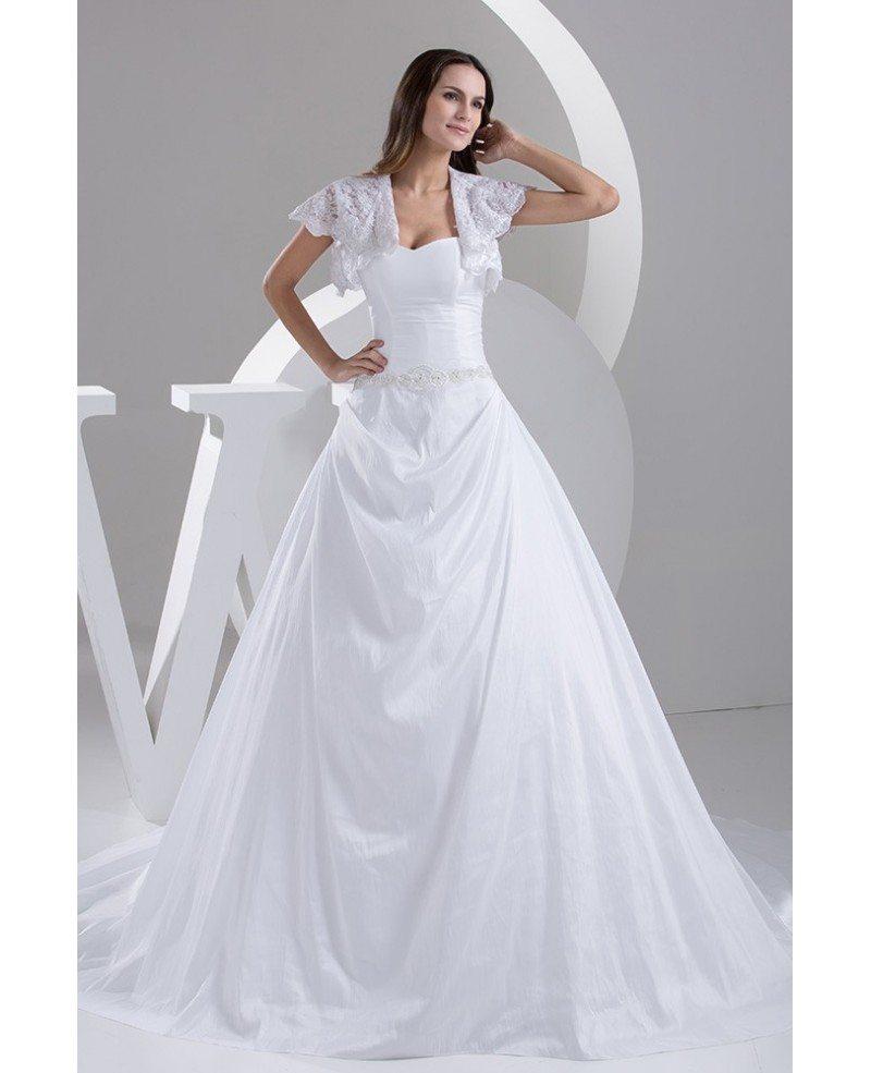 Traditional Taffeta Sweetheart Ballgown Wedding Dress with Lace ...