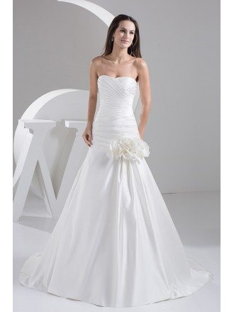 Strapless Pleated Satin Mermaid Wedding Dress with Flowers