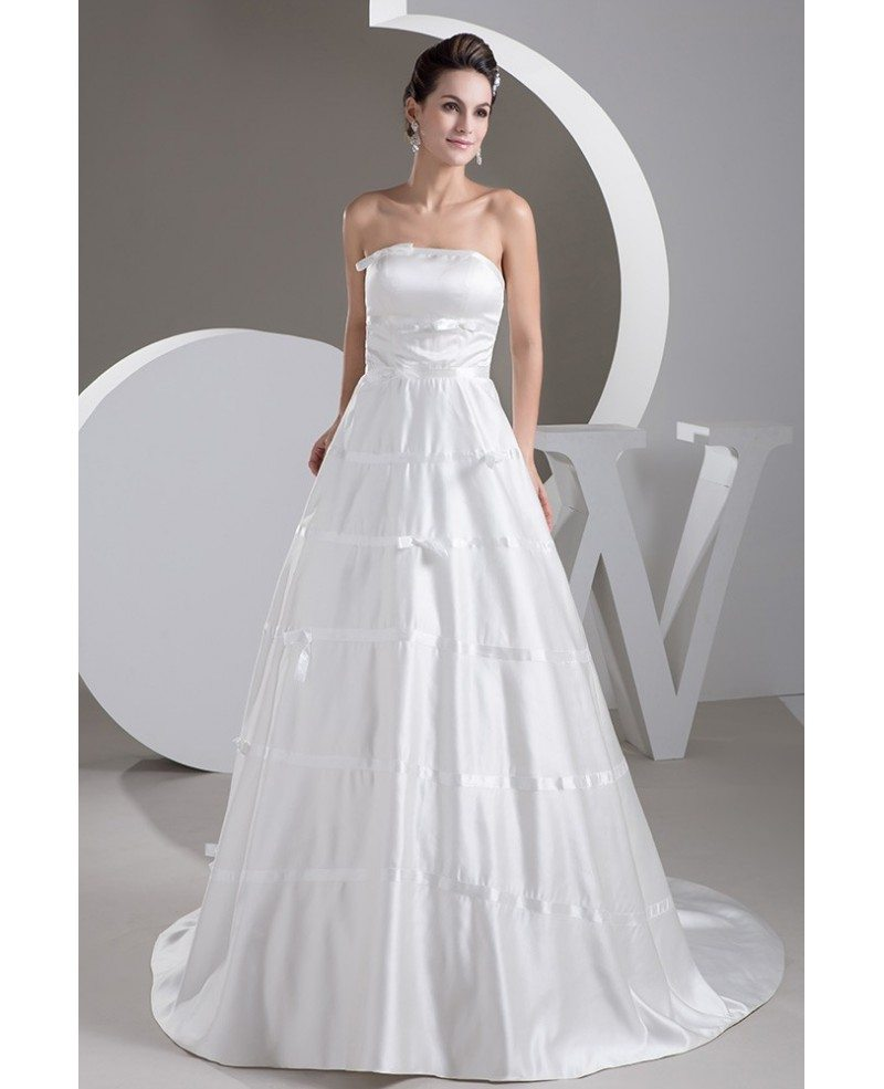 Aline Wedding Gown: Strapless Strapless Aline Satin Custom Wedding Gown Corset