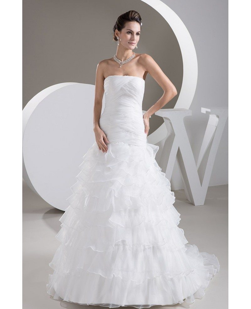 Strapless cross pleated cascading ruffles bridal dress for Cascading ruffles wedding dress