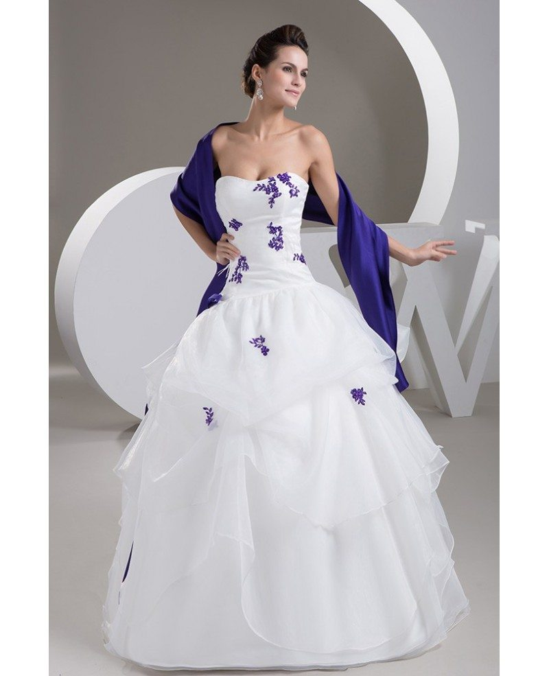 Strapless White with Purple lace Ruffled Color Wedding Dress with ...