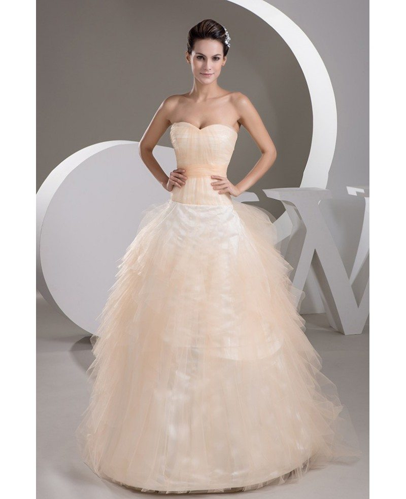 Tulle Charming Sweetheart Orange Color Ballgown Bridal Dress ...