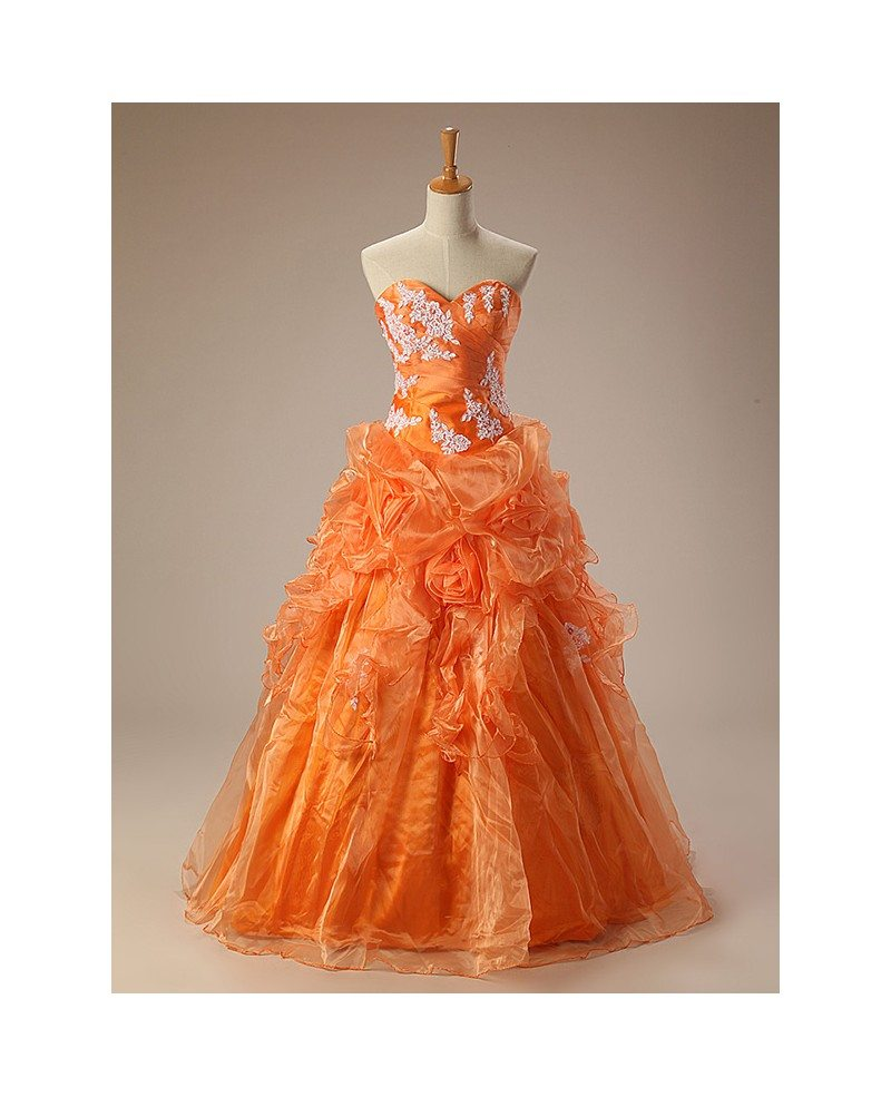 Orange Ballgown Sweetheart Lace Long Lace Dress #CH0059 $263 ...