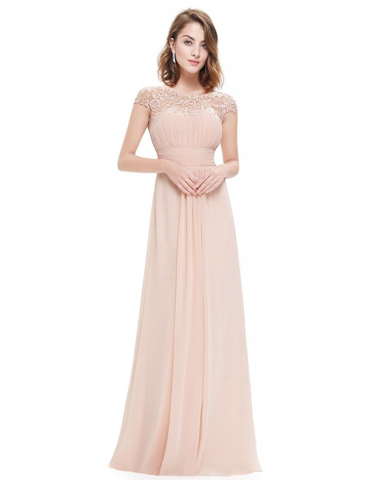 A line scoop neck lace chiffon floor length dress with cap for Floor length dresses