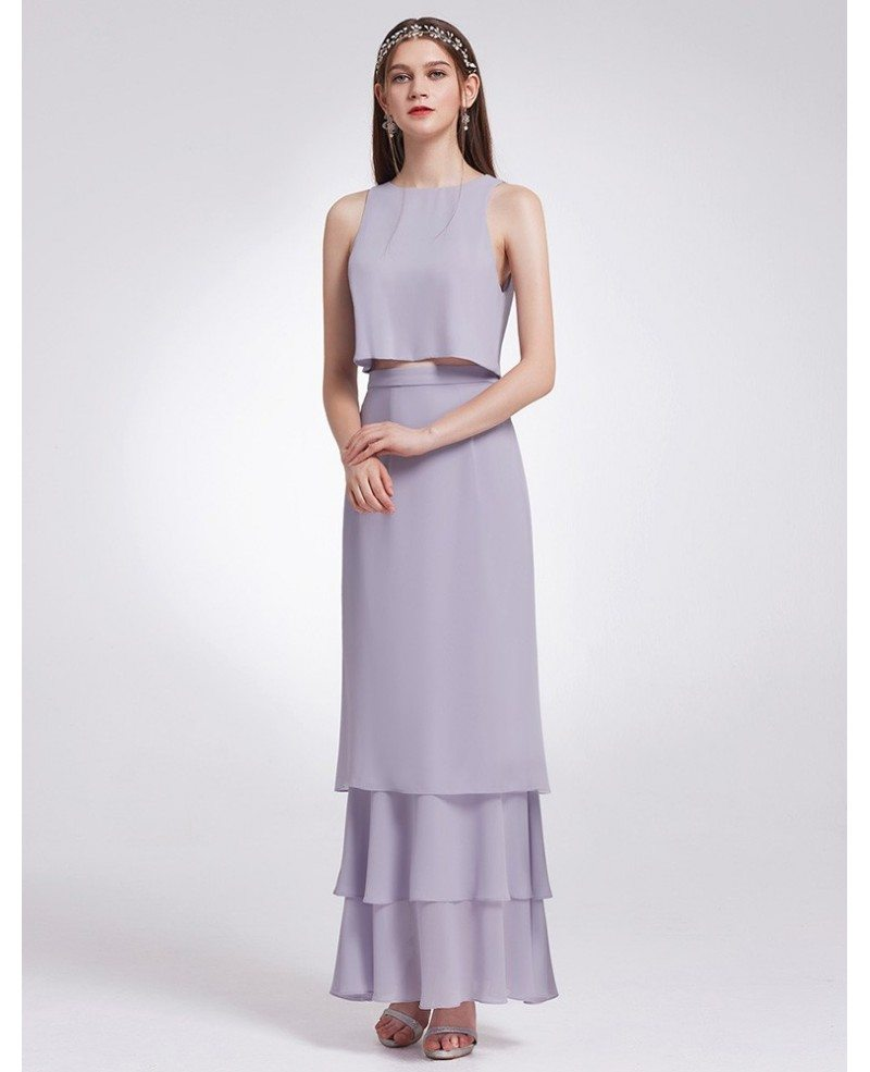 Dusty Lilac Two Piece Sleeveless Layered Long Cheap Bridesmaid Dress ...