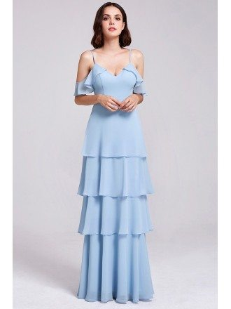 Long V Neck Ruffles Adjustable Cheap Bridesmaid Dress with Straps