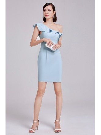 Blue Sheath One Shoulder Short Knee-length Wedding Party Dress