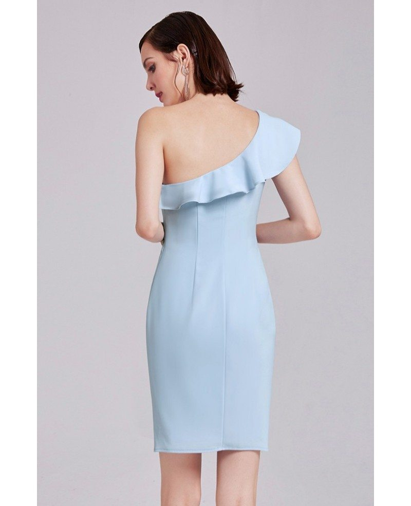 Blue sheath one shoulder short knee length wedding party for One shoulder short wedding dress