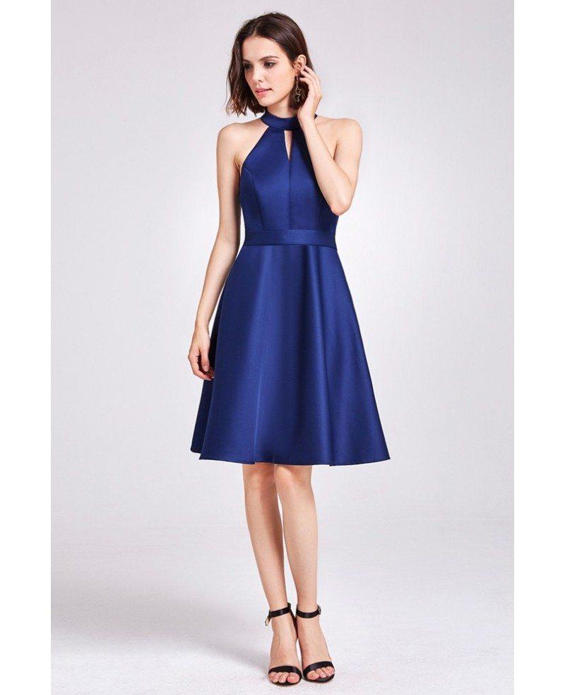 Short knee length halter cheap bridesmaid dress with sash for Short halter wedding dresses