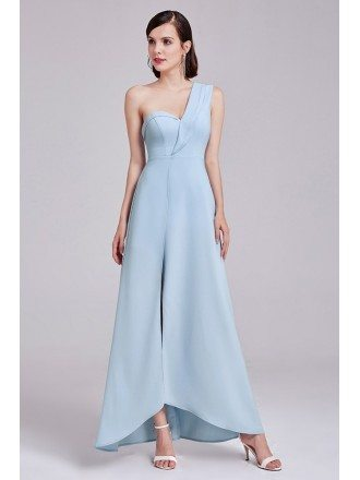 One Shoulder Sweetheart Long Blue Formal Dress with Slit
