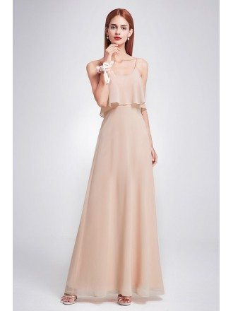 Special Blush Ruffle Spaghetti Strap Long Bridesmaid Dress for Beach Weddings