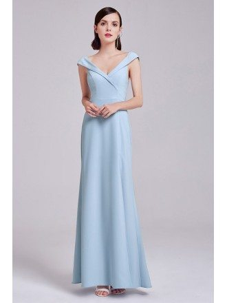 Blue Long V Neck Tulip Sleeves Evening Party Dress