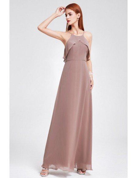 Charcoal Ruffle Spaghetti Strap Cheap Bridesmaid Dress For