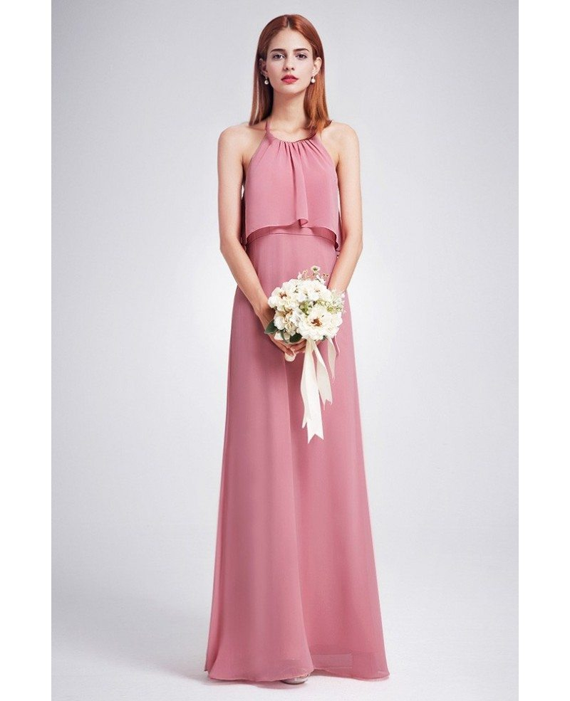 Trendy Dusty Rose Color Ruffle Spaghetti Strap Chiffon Bridesmaid ...