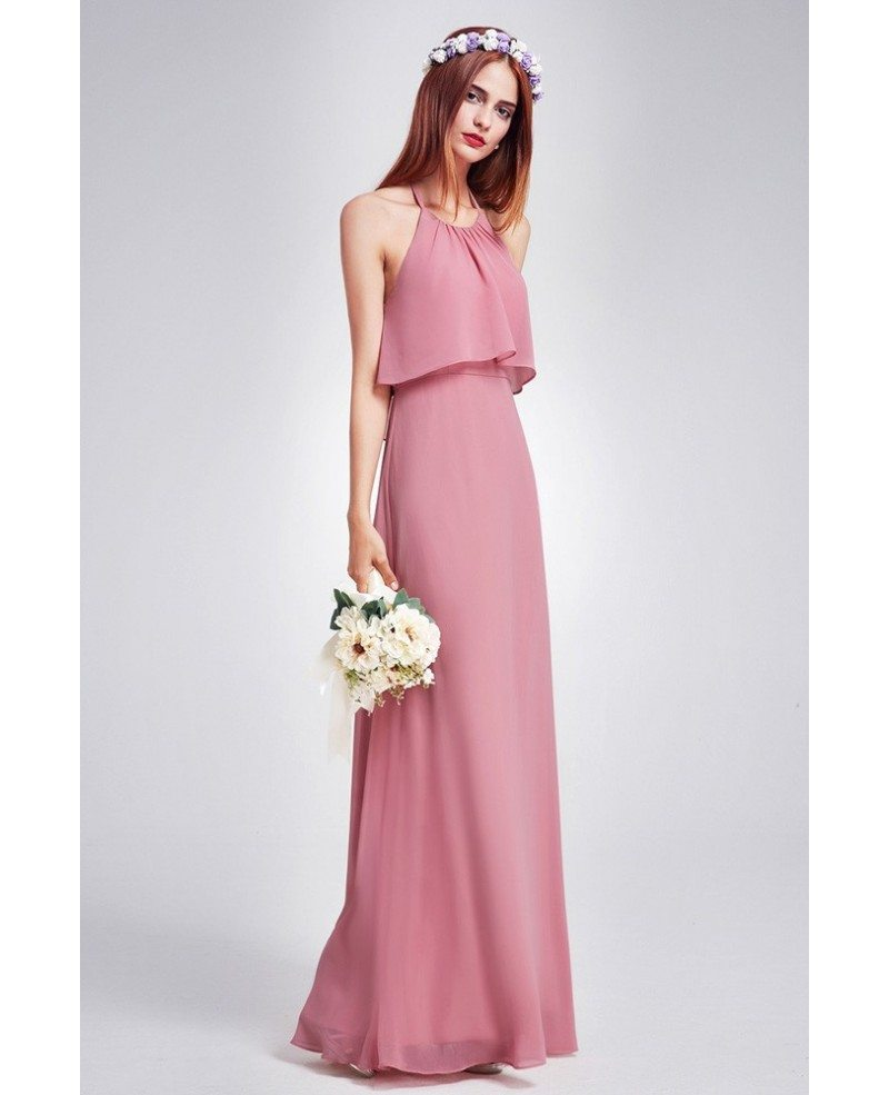 Trendy dusty rose color ruffle spaghetti strap chiffon bridesmaid trendy dusty rose color ruffle spaghetti strap chiffon bridesmaid dress ombrellifo Image collections