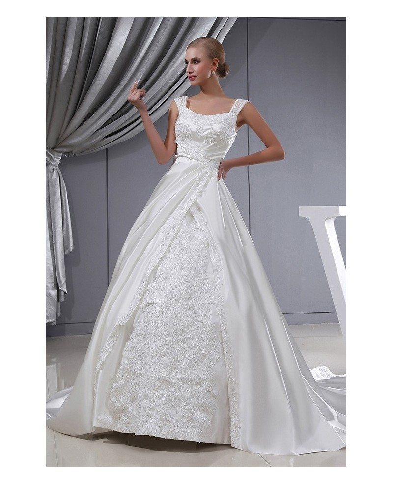 Ivory Satin Beaded Lace Ballgown Wedding Dress with Straps #OPH1304 ...