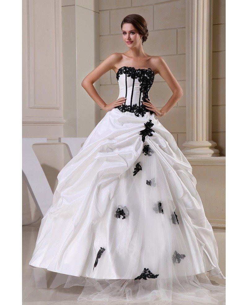 Gothic Black and White Corset Ballgown Taffeta Wedding Dress with ...